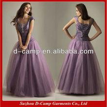 OC-789 Ruched bodice delicate cap sleeve prom dresses designer evening prom dress cap sleeves