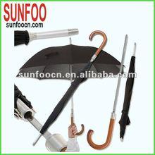 Black aluminum straight standing umbrella