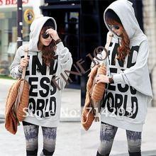 2012 New Fashion Women's Leisure long Letter Hoodies Coat Jacket Sweatshirt Outerwear 2306