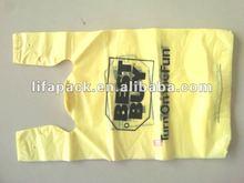 BV HDPE yellow t-shirt printed shopping bag