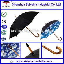 Shenzhen alibaba 23 Inch 8 ribs curve handle lattice auto open straight umbrella