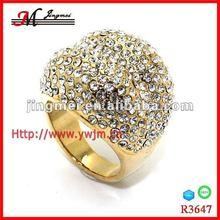 R3647 diamond ring jewelries ,pave diamond skull ring ,gold fashion ring