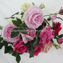 beautiful artificial flower 4-head rose with edge rose