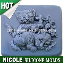 R1017 zibo nicole soap molds silicone rubber lovely lions handmade soap molds silicone