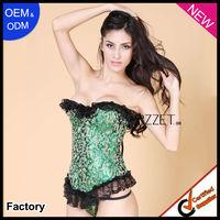 Authentic corset green imitation silk corset dress