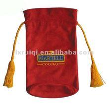 velvet wine bag, velvet drawstring bag for wine with silk screen logo