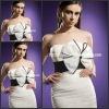 SD3664 Elegant Strapless Column Mini Black Sash Bowknot Ruffles Custom Organza Little White Cocktail Dress 2012