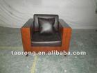 High quality wood frame single brown leather sofa SO-165