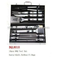 Aluminue handle case 10 pieces bbq accessory