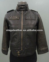 two-tone old effect PU leather short coats for women