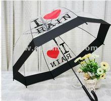 U shaped umbrella I love rain transparent umbrella