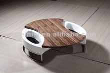 4G068A Modern design livingroom furniture, swing white veneer top coffee table