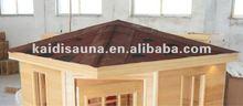 Outdoor sauna house with Canadian hemlock