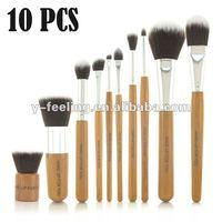 Pro 10 pcs Bamboo Handle Synthetic Makeup Brushes Kit,Cosmetic Set