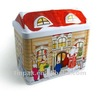 embossed houses tin container for cookie