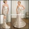 ML100 Champage Romantic Satin Sheath With Flower Sash Ruffled Strapless Mermaid Wedding Dress Patterns