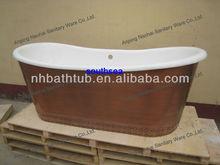 copper skirted cast iron bath tub/ freestanding bathtub