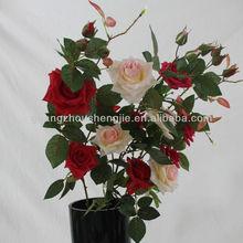 China artificial flower 4-head edge rose