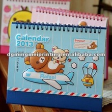 2013 spiral-bound desktop calendar with cartoon