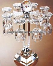 Executive crystal glasswine glass holder for bar rail (R-1454