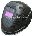 negro de fibra de carbono de visión 98x40mm alimentado por energía solar de soldadura casco