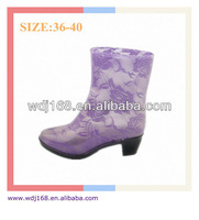 Unique Sexy Ladies High Heel Ankle High Purple Lace Rain Boots