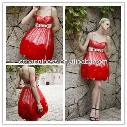 ... disegno rosso cinghia di spaghetti cocktail formale abiti partito