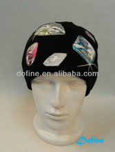 Women knitted beanie,100% acrylic,with shining prints