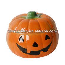 Halloween Dolomite Pumpkin Lidded Bowl