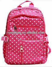 Pink white point charming decorative pattern bag girls