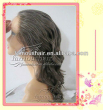 Wholesale gray hair indian remy hair 18 inch french lace medium cap size full lace wig for old woman