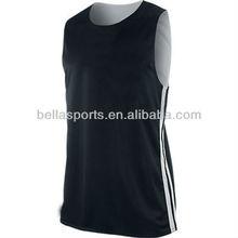 All Black Mesh insert Blank Basketball Team Reversible Jersey,Basketball Top