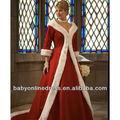 natal 2013 manga comprida bordado peles de inverno vermelho plus size wedding vestidos vestuário wd04