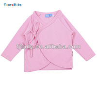 Solid Cotton Front Opening Newborn Baby T Shirt 3M 6M 1Y 1-2Y Wholesale