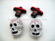 Halloween skull head flashing led spinning top with kikoku