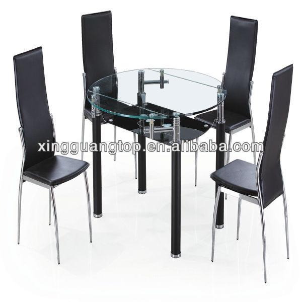 Mesa de comedor moderno round extensible mesa mesa con for Comedor 6 sillas moderno