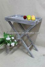 Luckywind vintage folding wood tray shelf
