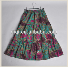 2013 latest cotton gypsy floral skirt for ladies in summer
