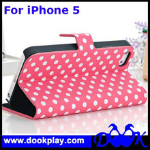Flip Cover For iPhone 5 5G Cute Polka Dot Leather PU Case