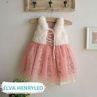 2014 spring new versatile fur vest floral elegant girls' frocks chiffon design dress