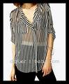 mais recentes modelos novos de tarja chiffon blusa de manga comprida tops