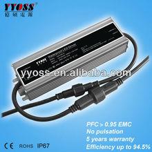 PFC>0.95 CE ROSH waterproof led driver 12v 24v 200W 150W 100W 5 years warranty for strip light street light