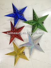 Newest design cute hanging decoration large paper star with pierced for birthday party