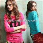 ladies long sleeves wholesale custom T-shirt printer