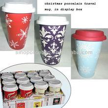 Best Display Package christmas porcelain travel mug for BS12003