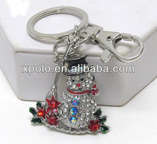 "High Rhodium Plated 1.5""*1.75"" Crystal Snow Man Metal Ring Key Chains"