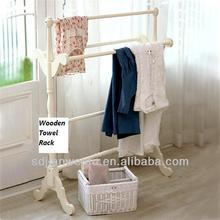 wooden towel rail hanger stand