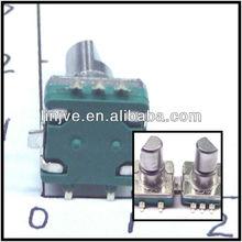 3-pin, 30 detent, blue cast aluminum body push switch absolute encoder