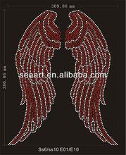 2014 brand-new red wing rhinestone motif transfer hotfix for T-shirt