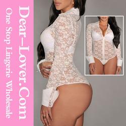 2014 White Sheer Lace Long Sleeves Bodysuit sexy xxx women